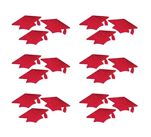Beistle CT05 Red Metallic Grad Cap Cutouts, - Out Cut Grad Cap