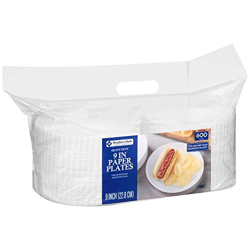 "Price comparison product image Member Mark Heavy Duty Paper Plates,  9"",  600 Count"