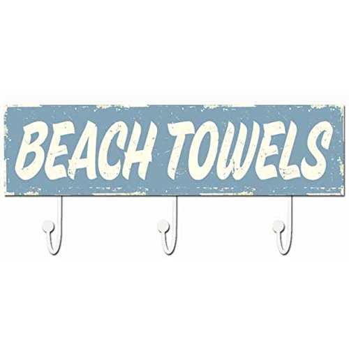 BEACH TOWELS Wood 16x5 Box Sign/Hanger by Sixtrees -