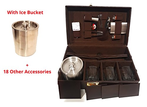 Portable 19 Pcs Leatherite Premium Travel Briefcase bar Set with Ice Bucket and 18 Other Accessories Price & Reviews