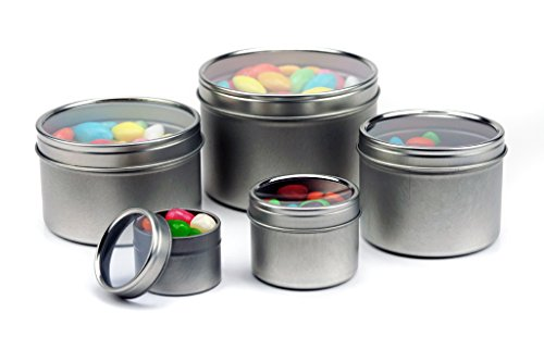 (24 Piece Mimi Pack 16 oz Deep Round Clear Window Tin Lid For Salves, Favors, Spices, Balms, Candles, Gifts Limited Run Series (Silver))