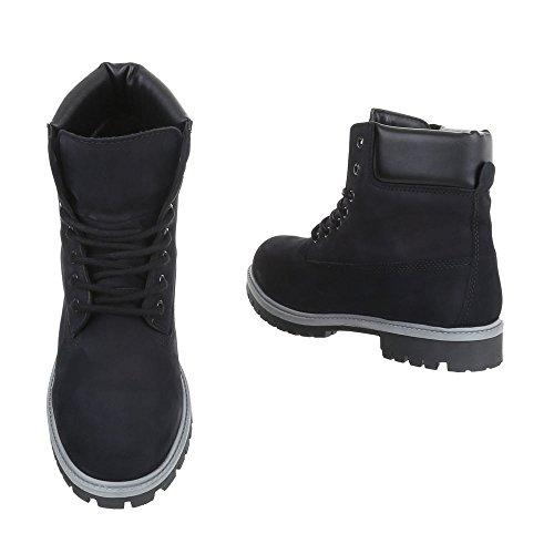 Stiefeletten Leder Damen- Und Herren-Schuhe Combat Boots Blockabsatz Schnürer Schnürsenkel Ital-Design Boots Schwarz, Gr 40, Tm-