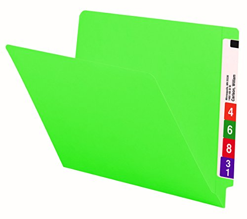 Smead Colored End Tab File Folder, Shelf-Master Reinforced Straight-Cut Tab, Letter Size, Green, 100 per Box (25110)