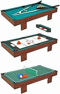 Devesspor - Multijuego sobremesa 3 en 1: billar, air hockey y ping pong - Colocar encima de la mesa de tu salón o zona de juegos - Multijuegos niños y adultos -