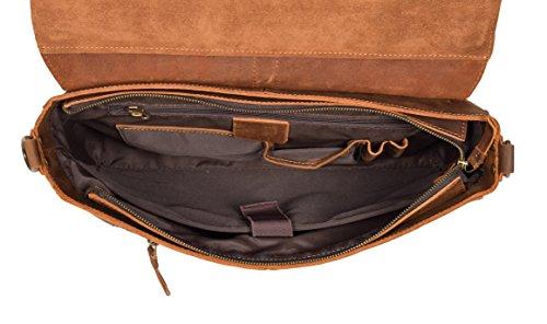 Herren Echtes Leder Aktenkoffer Vintage HELLBRAUN Organizer Tasche Büro Arbeit Laptop Satchel - Basel 3kuAl2yuP