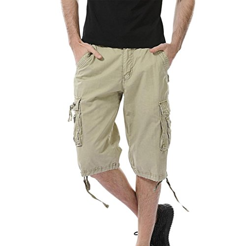 Aurorax Men's Cargo Shorts Pant, Casual Stretch Sports Fitness Gym Pants with Pocket (Khaki, 31)