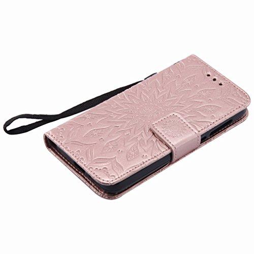 Yiizy Huawei Y3II / Huawei Y3 2 Custodia Cover, Sole Petali Design Sottile Flip Portafoglio PU Pelle Cuoio Copertura Shell Case Slot Schede Cavalletto Stile Libro Bumper Protettivo Borsa (dell'oro del