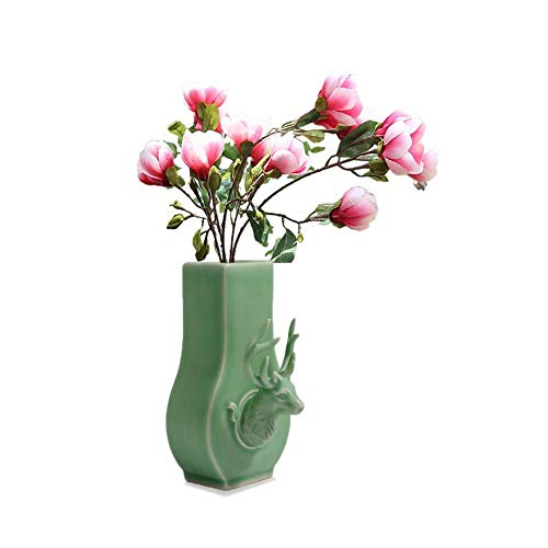 - CRH600 Wall Hanging Planter Vase with Deer Head Floral Decor Container,Celadon Ceramic,Centerpiece Vintage Pottery Glaze Jar Craft Art, Home Gift (Plum Green)