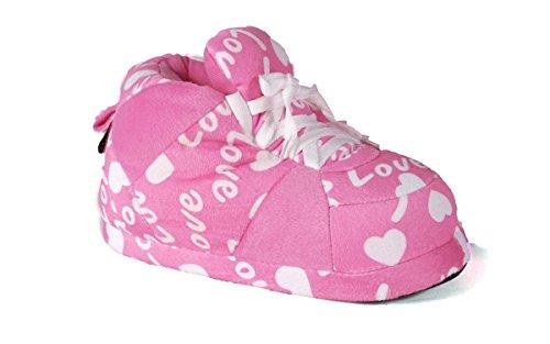 6087bd54a77ee0 Galleon - 1098-2 - Pink Love - Medium - Happy Feet Sneaker Slippers