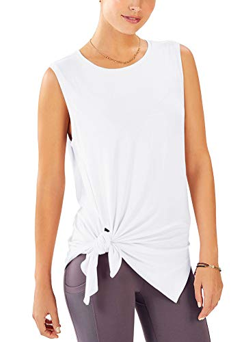 Mippo Summer Womens Tops Active Tank Tops Yoga Shirts Muscle Tanks Workout Clothes Junior Shirts Sleeveless High Neck Tank Tops Beach Tops Hiking Shirts for Women White S