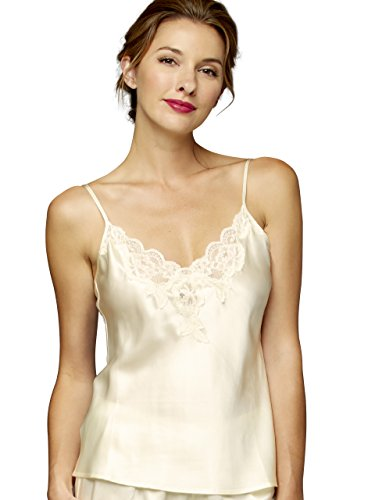 (Julianna Rae Women's 100% Silk Camisole Top, Lace Trim, Flattering Fit, Le Tresor Collection, Whisper, L )