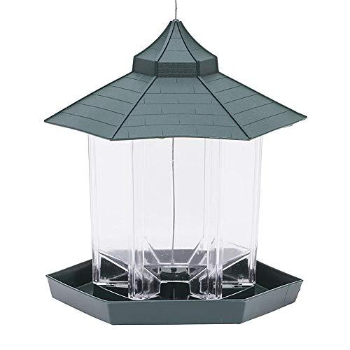 VietGT Caged Bird Feeder Hanger for Outside- Waterproof Outdoor Green Pavilion-Shaped Bird Feeder Tool Innovative Hanging Bird Feeding Products Garden Decoration- Wood Bird Feeder ()