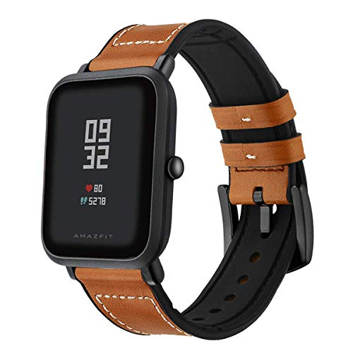Kartice Compatible with Amazfit Bip Band, Hybrid Rubber Leather Replacement Bands Buckle Strap Wrist Band for Amazfit Bip Smartwatch.(Brown2)