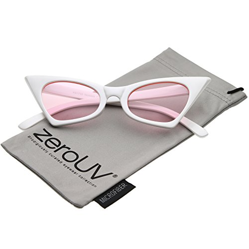 zeroUV - Retro Small High Pointed Tinted Colored Oval Lens Cat Eye Sunglasses 46mm (White / Light - Cateye Sunglasses White