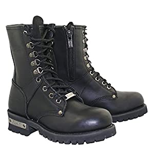Xelement 2446 Vigilant Womens Black Logger Boots with Inside Zipper - 9 1/2