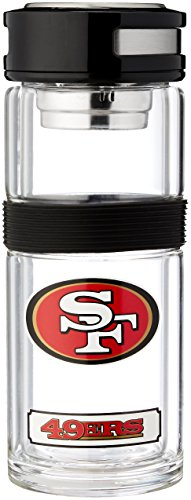 NFL San Francisco 49Ers Double Glass Travel Thermos Flask, 14-Ounce (Sports Glass 49ers Francisco San)