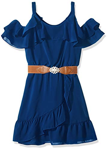 Amy Byer Girls' Big Cold-Shoulder Ruffle Front Dress, Sea Navy, -