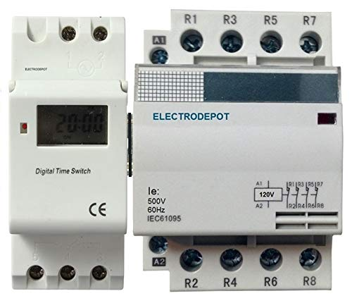 Time Switch 7 Days, 24 Hrs Control 110VAC 120V 30A 4 Pole Contactor Timer 60A NO Normally Open