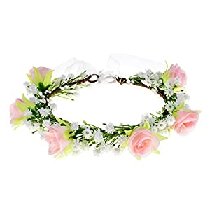 Floral Fall Artificial Baby Breath Flower Halo Wedding Crown Pink Bridal Headpiece Greenery Crown HC-24 (White Pink Rose) 7