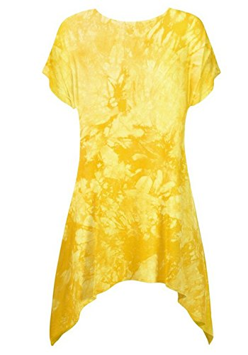 LemonGirl Women Irregular Hem Pullover T-Shirt Blouse Tops Yellow