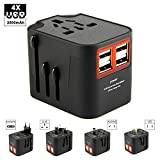 International Travel Adapter,Worldwide Travel Power Adapter Universal Wall Charger with 4 USB Ports for EU, UK, US, USA, AU, Europe & Asia, All-in-one AC Power Plug Multi-Outlets Electrical Adaptor
