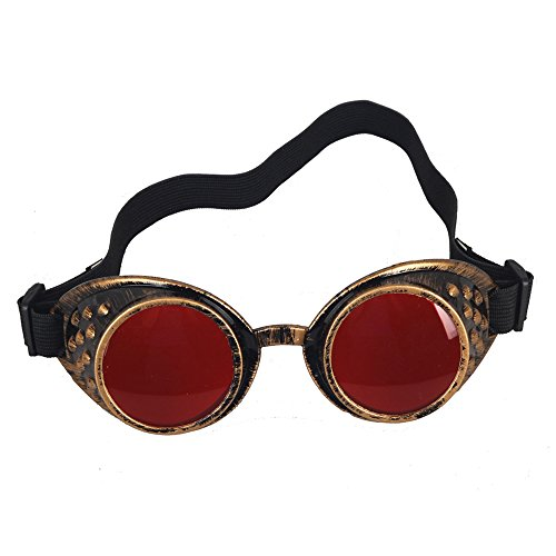 OMG_Shop Anime Goggles Vampire Sport Sunglasses Cosplay Lolita Punk Cyber Goth Punk Steampunk Goggles (Red - Band Sunglasses Red