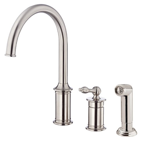 Danze D409910SS Prince Single Handle High-Rise Kitchen Faucet with Side Spray, Stainless Steel