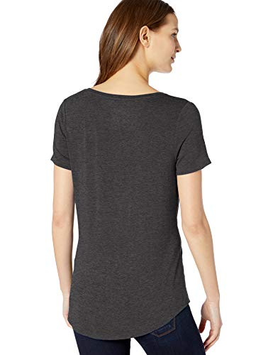 ccf3dc8e685a Amazon Essentials Women's Solid Short-Sleeve V-Neck Tunic, Charcoal  Heather, ...