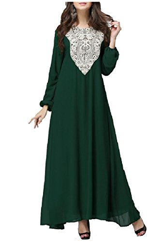 6XL Muslim Dress East Size Plus Green Women Middle Abaya Coolred Sleeve Long PwpwHqT