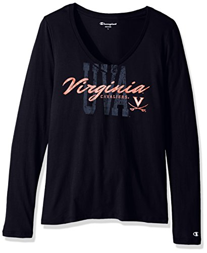 (NCAA Virginia Cavaliers Women's University Long Sleeve V-Neck Tee, Large, Navy)