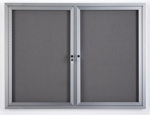 "Displays2go 48"" x 36"" Wall Mounted Enclosed Bulletin Board with 2 Doors, Locking, Aluminum (FBSW43SVLG)"
