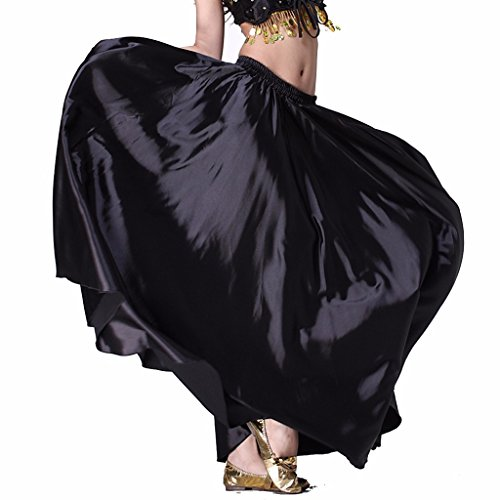 Wuchieal Women's Belly Dance Satin Skirt Full Circle Long Sexy Dancing Costume Lady dress Black (Sexy Belly Dance Costumes)