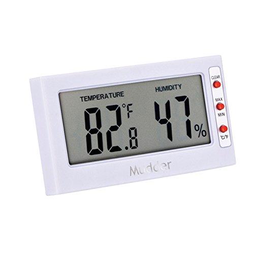 Mudder Indoor Digital Thermometer/Hygrometer, Temperature & Humidity Monitor, White