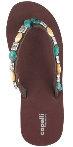 Capelli New York Upper With Beads On Eva Wedge Ladies Fashion Flip Flop Brown Combo 8 Brown Combo