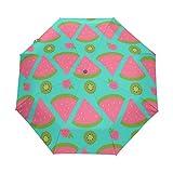 DOENR Compact Travel Umbrella Watermelon Piece Sun and Rain Auto Open Close Lightweight Portable Folding Umbrella