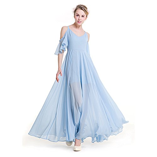 SODIAL(R) Women Summer Bohemian Casual Beach Dress For Women Chiffon Long Dress Solid Fairy Clothing (Fairy Dress For Women)