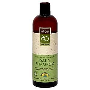 Lily of the Desert Aloe 80 Organics Shampoo, Daily, Aloe, Lemon & Rosemary, 16-Ounces (Pack of 3)