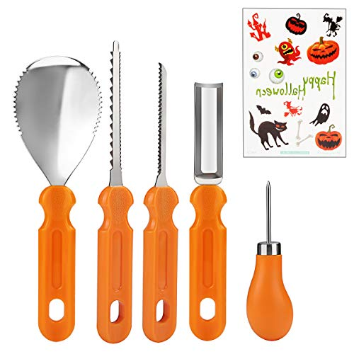 Pumpkin Carving Kit for Kids and Adults Professional Stainless Steel Pumpkin Carving Tools 5 Pieces Set with Halloween Sticker for Halloween DIY Activity