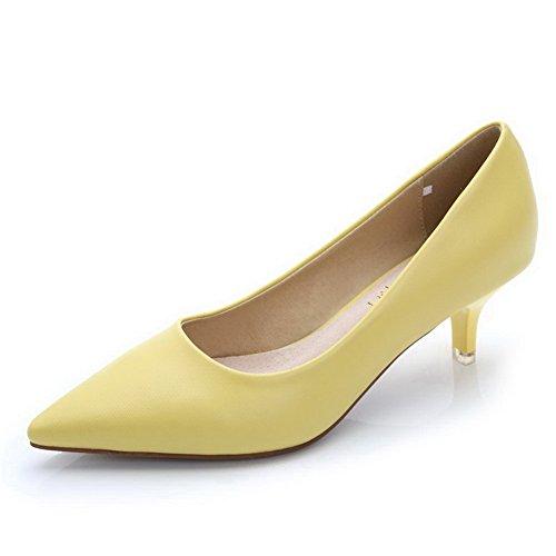 AalarDom Damen Rein Schließen Zehe Mittler Absatz Spitz Zehe Ziehen Auf Pumps Schuhe Gelb-Pu Leder