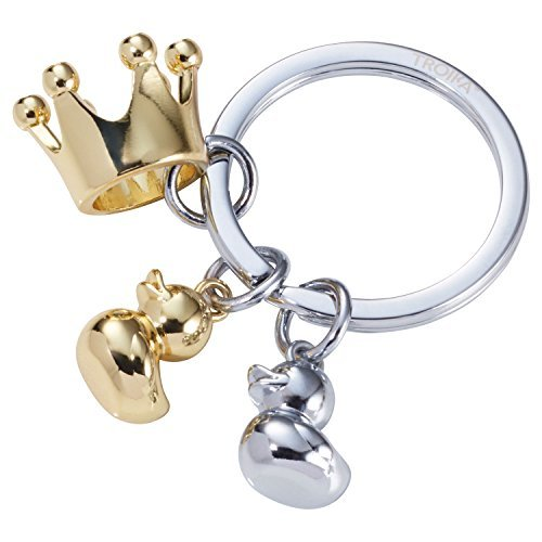 TROIKA ROYAL DUCKS - KR17-31/CH - Keyring with 3 charms - All my little ducklings, duck, crown - cast metal- shiny - gold, silver - TROIKA-original