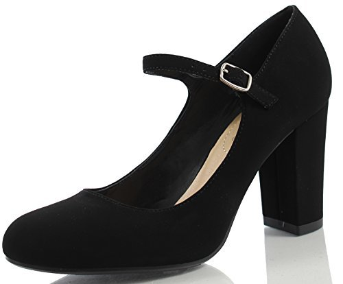 City Classified Comfort Women's Nola Faux Nubuck Leather Mary Jane Chunky High Heel, Black, 7 M US Chunky Leather Pumps