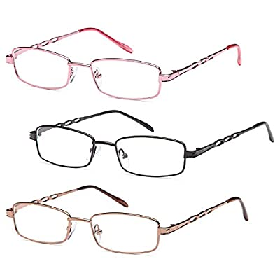GAMMA RAY READERS 3 Pairs Ladies' Readers Stainless Steel Reading Glasses for Women