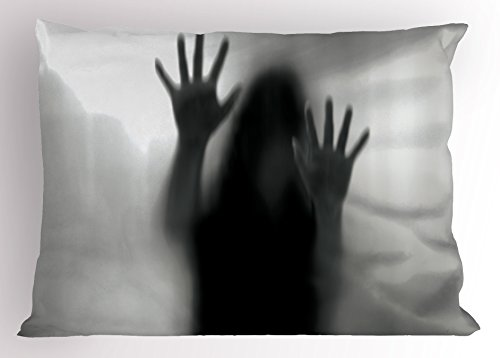 Lunarable Horror House Pillow Sham, Silhouette of Woman behind the Veil Scared to Death Obscured Paranormal Photo Print, Decorative Standard Size Printed Pillowcase, 26 X 20 Inches, Gray by Lunarable