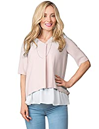 Sweet Mommy Maternity and Nursing Front Fold Pleated Back Blouse Top
