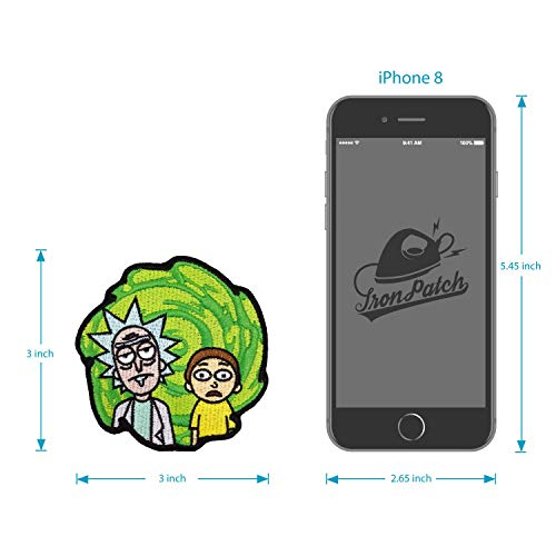 Bags Rick /& Morty Patch Iron on /& Sew on Cartoon Green Swirl Embroidered Applique Decoration DIY Craft for Tshirts Hats Denim Jackets