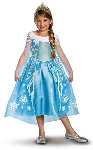 v28 Frozen Anna Elsa Deluxe Girl's Costume Enchanting Dress (Age 6-7 (Heights upto 55 inches or 140 cm), Elsa - Blue) -