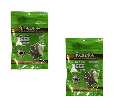 (The Real Meat Company 2 Pack of Jerky Treats for Dogs, 4 Ounces each, All Natural Beef)