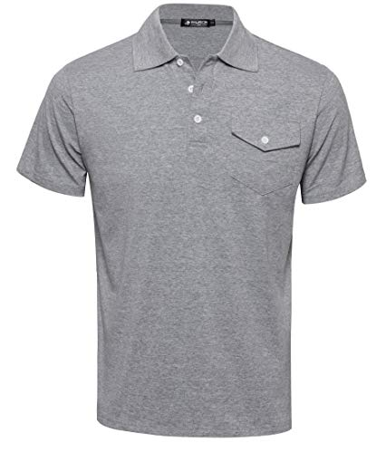 (Musen Men Classic Polo Shirts Short Sleeve Sport T-Shirts Cotton Slim-fit Tops Golf Grey Polos Sommer Tees, 6 Gray, Large)
