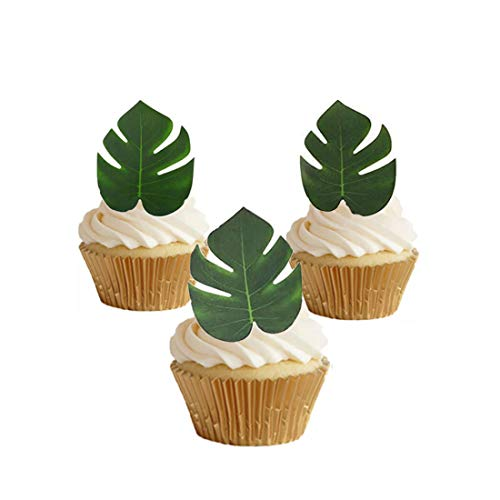 GEORLD 48pcs Edible Tropical Palm Leaves Cupcake toppers for Hawaii Theme Party Cake Summer Decoration -
