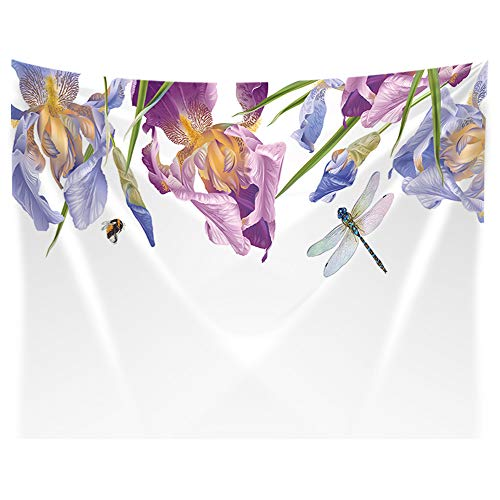 KOTOM Floral Natural Wallpaper Tapestry Wall Hanging, Botanical Border with Iris Flowers and Dragonfly on White, Tapestries Art Blankets Home Decor for Bedroom Living Room Dorm, 80X60 ()